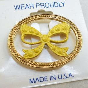 Jewelry - Vintage Yellow Ribbon Pin - MOC